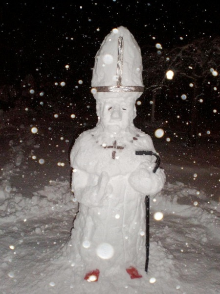Following the announcement of Second Christmas last night, many young people celebrated by building Snow Popes.