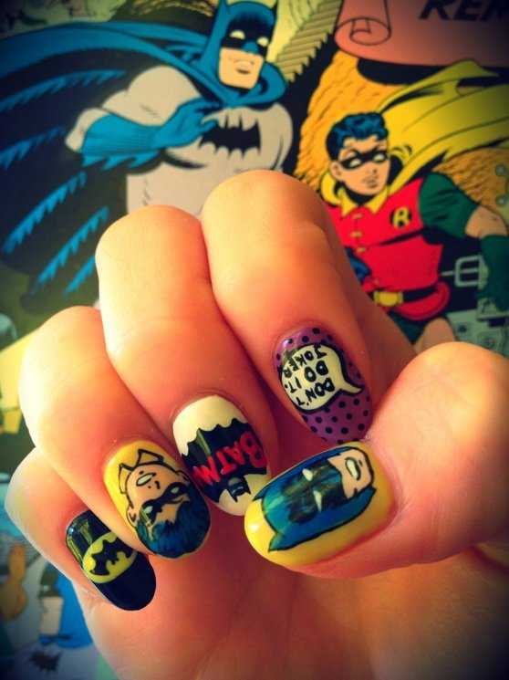 Classic Batman Nail Art Shewalkssoftly