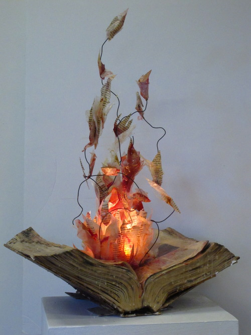 Harry Potter Book Burning ~ Burning book sculpture shewalkssoftly