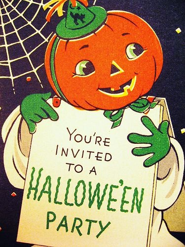 Halloween countdown vintage halloween party invitations for Vintage halloween party invitations