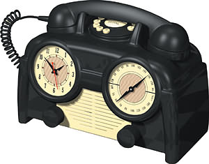 1930USBasicBakeliteClockRadioPhone
