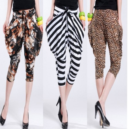 Fashion-2012-summer-new-arrival-casual-leopard-print-stripe-harem-pants-knee-length-trousers-loose-pants