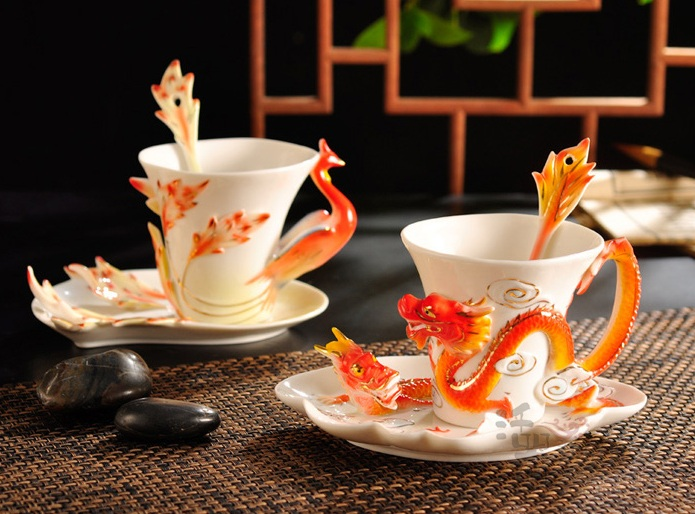 dragon and phoenix coffee cups shewalkssoftly
