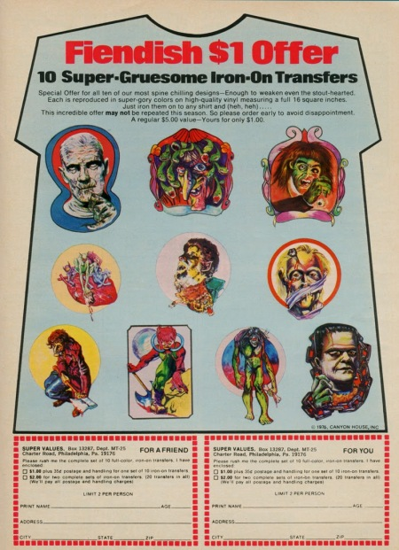 1976 Super-Gruesome Iron-On Transfers Ad