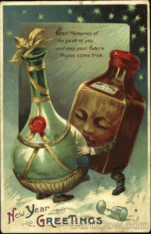 bizarre vintage new years cards shewalkssoftly