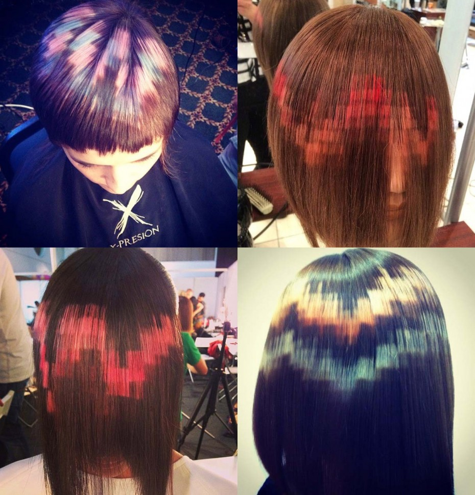 Покраска волос несколькими цветами